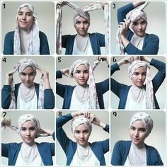 So classy and need, my turban always comes out messy and out of place:/ Turbans, Headscarves, Head Wrap Tutorial, Turban Headband Tutorial, Hijabs, Simple Hijab Tutorial, Hijab Style Tutorial, Arab Style, Turban Hijab