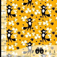 Bio bavlněný úplet PaaPii Lišky na žluté