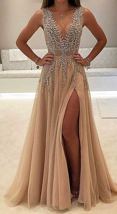 A-line V-neck Tulle Sexy Shinny Rhinestone Long Prom Dress With Slit Sexy Prom Dress, Prom Dress Backless, Prom Dress V-neck, Champagne Prom Dress, V Neck Prom Dress Prom Dresses 2020 Modest Prom Gowns, Split Prom Dresses, Sparkly Prom Dresses, V Neck Prom Dresses, Prom Dresses 2017, Beaded Prom Dress, Sexy Dresses, Beautiful Dresses, Dress Prom