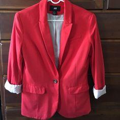 Red Blazer Red blazer. One button closure. H&M. Size 8 H&M Jackets & Coats Blazers