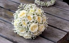 Wedding flowers on a wooden table
