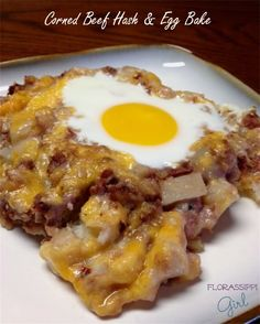 Corned Beef Hash and Egg Bake - A quick and easy breakfast (or brunch) casserole that combines the flavors of corned beef, potatoes, eggs, and cheese - It only takes 20 minutes! by Florassippi Girl