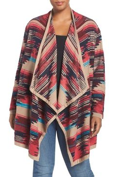 4b903bbc221 Lucky Brand Geo Pattern Drape Front Cardigan (Plus Size) available at  Nordstrom  Plus