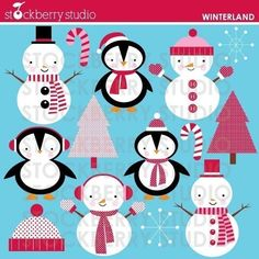 Winterland Personal and Commerical Use Clipart Set - Instant Download from: catchmyparty.com