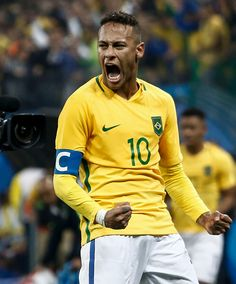 Neymar of Brazil celebrates after their Rio 2016 Olympic Games men's football…