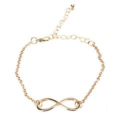 Gold Plated Alloy Infinity Charm with an Adjustable String Bracelet  – USD $ 1.50