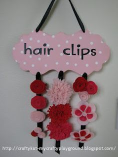 hair clip holder and felt flowers