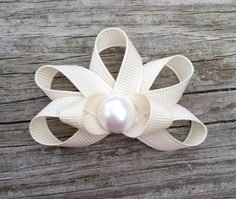 Seashell Ribbon Sculpture Hair Clip - Toddler Hair Clips - Girls Hair Accessories... Free Shipping Promo via Etsy