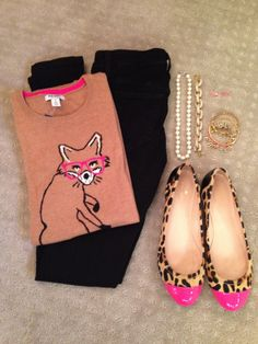 Old Navy sweater, Joe's Jeans black skinnies, Kate Spade flats, pearls, bangles & bow studs, Stella & Dot Renegade bracelet, J. Crew pave links bracelet, Michael Kors buckle bangle