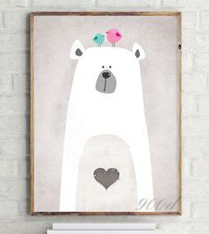 Cartoon Cute Polar Bear Canvas Art Print Painting Poster Wall Picture for Home Decoration Wall Decor Bianca Treupel Canvas Wall Decor, Canvas Frame, Canvas Art Prints, Framing Canvas, Poster Wall, Poster Prints, Cute Polar Bear, Polar Bears, Baby Art
