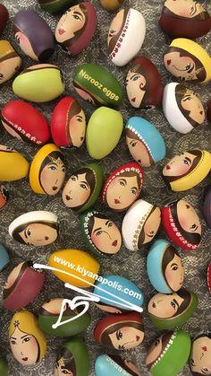 Hand painted Norooz wooden eggs - Persian New Year haft seen eggs - Nowruz