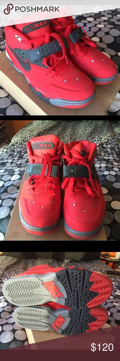 Nike Air Force Max *Rare* Sneakers 💯💯💯 Barkley Near perfect condition, 9.5/10.  Red with grey accents.  Rare kicks. Nike Shoes Athletic Shoes