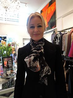 Jane from Haute wearing my Lava scarf.  Orange Poppy satin silk scarf is hanging behind. Scarves are now available at www.obscuradesigns.net