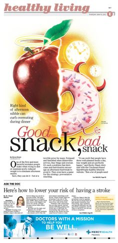Good Snack, Bad Snack. #Newspaper #Design #GraphicDesign