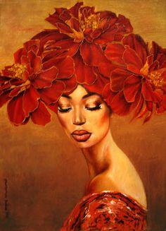 fyblackwomenart: To Close eyes to see light by Maratamara African American Art, African Art, Black Women Art, Black Art, Flowers Wallpaper, Poster Photo, Art Watercolor, Eye Painting, Closed Eyes