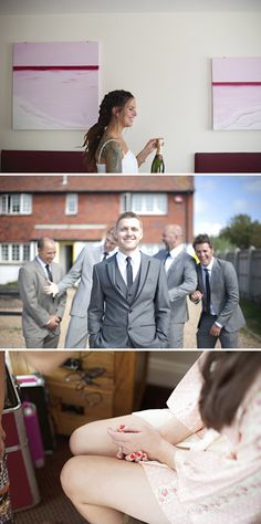 Love the way the groomsmen are goofing around in the background