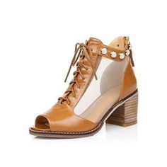 Nine Seven Genuine Leather Womens Peep Toe Mesh Contrast-stitching Lace up Chunky Heel Handmade Sandal