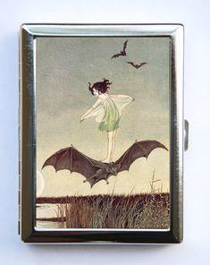 Girl Riding Bat Cigarette Case id case Wallet Business Card Holder Art Nouveau fairytale SUMMER SALE