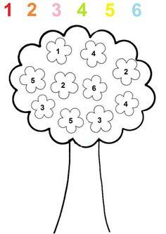 Coloriage des fleurs de l'arbre selon le chiffre