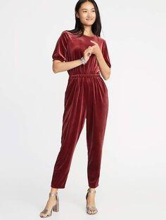 67456fa44f33 Old Navy Velvet Smocked-Sleeve Jumpsuit for Women Velvet Jumpsuit