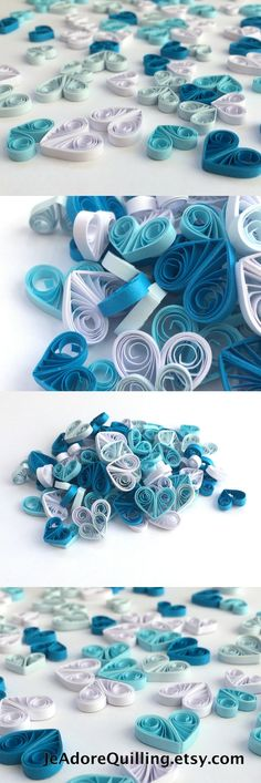 Quilled Hearts Paper Quilling Art Confetti Scatter Ornaments Gifts Fillers Valentines Mothers Day Baby Bridal Shower Wedding Blue White