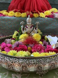 Varalakshmi Vratham 2019 honours the most popular Goddess Maha Lakshmi. Diwali Decorations At Home, Ribbon Decorations, Wedding Stage Decorations, Festival Decorations, Room Decorations, Mandir Decoration, Ganapati Decoration, Silver Pooja Items, Housewarming Decorations