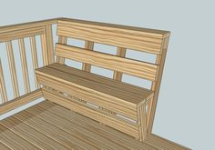 La rampe pour la mezzanine peut être un banc de lecture ou un lit de lecture. This bench could replace railings on the build out of the deck in front. They provide nice seating but also don't take much square footage from deck Deck Bench Seating, Built In Seating, Built In Bench, Cool Deck, Diy Deck, Balustrades, Custom Decks, My Pool, Deck Plans