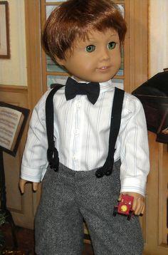 American Boy Doll, American Girl Clothes, Boy Doll Clothes, Boy Clothing, Grey Bow Tie, 18 Inch Boy Doll, Boys Uniforms, Girl Dolls, Ag Dolls