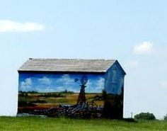 Barn painted with windmill