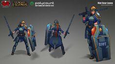 Riot Gear Leona - Polycount Contest 2014, Alex Nguyen on ArtStation at https://www.artstation.com/artwork/riot-leona-01