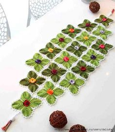 Crochet table runner.