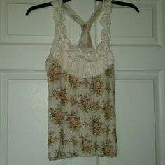 Floral Tank Cute roses form the whole neckline and straps. Very lightweight Body Central Tops Tank Tops