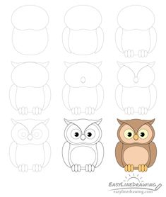 How to Draw an Owl Step by Step - EasyLineDrawing Easy Disney Drawings, Easy Animal Drawings, Easy Drawings For Kids, Pencil Art Drawings, Cute Drawings, Doodle Drawings, Drawings Of Owls, Cartoon Owl Drawing, Cute Owl Drawing