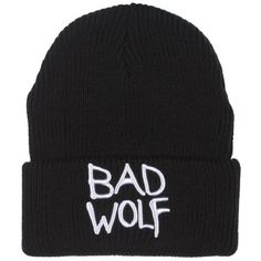 Doctor Who Bad Wolf Beanie ($13) ❤ liked on Polyvore featuring accessories, hats, beanies, headwear and beanie hats