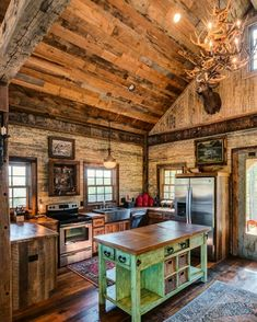 34 Stunning Cabin Kitchen Decoration Ideas, Kitchen Known as the hustle-and-bustle of your house, the kitchen is likewise an area which deserves some love from eucalyptus. A neat-looking kitchen. Rustic Cabin Kitchens, Rustic Kitchen, Kitchen Decor, Kitchen Design, Home Kitchens, Rustic Houses, Rustic Cabins, Log Cabins, Craftsman Farmhouse