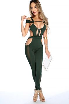 Look Sexy in this Jumpsuit perfect for clubbing! Featuring; Strappy cutout, sleeveless, off the shoulder straps, side mesh panel, open back, back tie and fitted. 88% Polyester 12% Spandex
