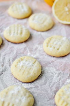 Lemon Butter Cookies ~ Ooh, tremble, you, the biggest fans of lemon desserts, because here is a recipe you won't want to pass by!(make vegan) Lemon Desserts, Lemon Recipes, Sweet Recipes, Delicious Desserts, Yummy Food, Delicious Cookies, Fun Recipes, Summer Desserts, Healthy Desserts