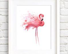 Flamingo Art aquarel strepen Faux mat goud folie door VerbosePrints