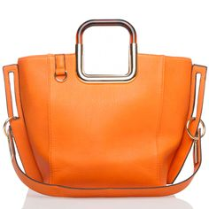 ~~Orange tote with metallic handle detail~~