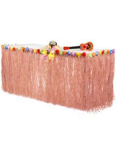 Jupe de table Hawaï beige 2,74 m x 71 cm : Cette jupe de table est de couleur beige.Comme un déguisement, ce tour de table présente des rubans en imitation raphia.Sur le haut, des fleurs exotiques aux diverses couleurs... Aloha Party, Tropical Party Decorations, Tropical Decor, Pink Flamingo Party, Moana Party, A Little Party, Partys, Summer Parties, Baby Party