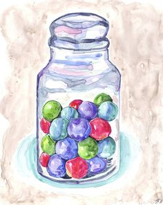 Candy Art Gumballs in Jar Art Watercolor Art Print by jojolarue