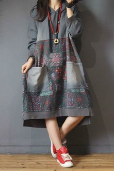 Buy Folk Printing Large Hoodie Cotton Casual Hooded Dress in Hooded Dresses online shop, Morimiss offers Hooded Dresses to make you feel comfortable Stylish Dresses For Girls, Casual Dresses, Casual Outfits, Fashion Dresses, Dress Plus Size, Plus Size Outfits, Curvy Fashion, Plus Size Fashion, Hooded Dress