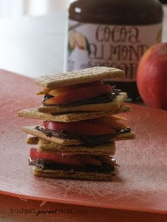 Healthy Eating Tips to Banish Snack Time Hunger -Cocoa Almond Butter Grahamwiches by: BudgetGourmetMom.com