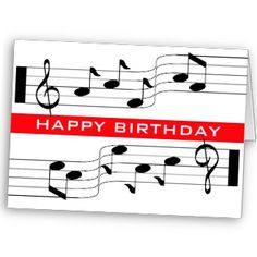 Happy Birthday Card Music Note Score White Notes Template Crafts Cards