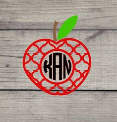 Decorative Apple Monogram Vinyl Decal by SCSassySouthernBelle on Etsy Yeti Decals, Nail Decals, Vinyl Decals, Laptop Decal, Laptop Stickers, Secondary Color, Primary Colors, Laptop Screen Repair, Tiger Paw