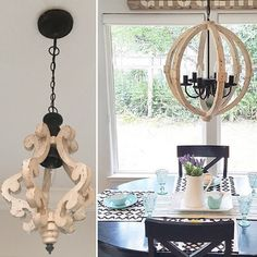 Our distressed wood chandelier is affordable and beautiful. This white chandelier will light up your world. See antique chandeliers at Décor Steals.