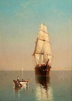 Oil painting 'Calm Water with a Sailing Ship and a Small Boat' printing on Linen Canvas , 12x17 inch / 30x43 cm ,the best Wall art decor and Home decor and Gifts is this High quality Art Decorative Canvas Prints SashaankLobo http://www.amazon.com/dp/B00T5ZOBMY/ref=cm_sw_r_pi_dp_8y0bvb01N31CK