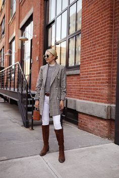 Fall boot week // riding boots with blazers my plaid outfits Trendy Fall Outfits, Plaid Outfits, Winter Outfits, Denim Outfit, Riding Boot Outfits, Riding Boots, Cowgirl Boots, Western Boots, Fall Fashion Trends