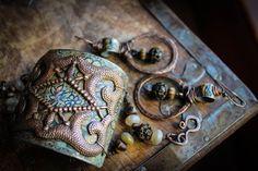 Chicory tin cuff metal work ornate brass beaded by TwistedJewel, $65.00