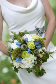 green, blue and white bouquet
